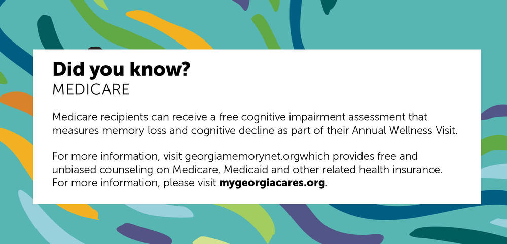 Medicare recipients can receive a free cognitive impairment assessment that measures memory.