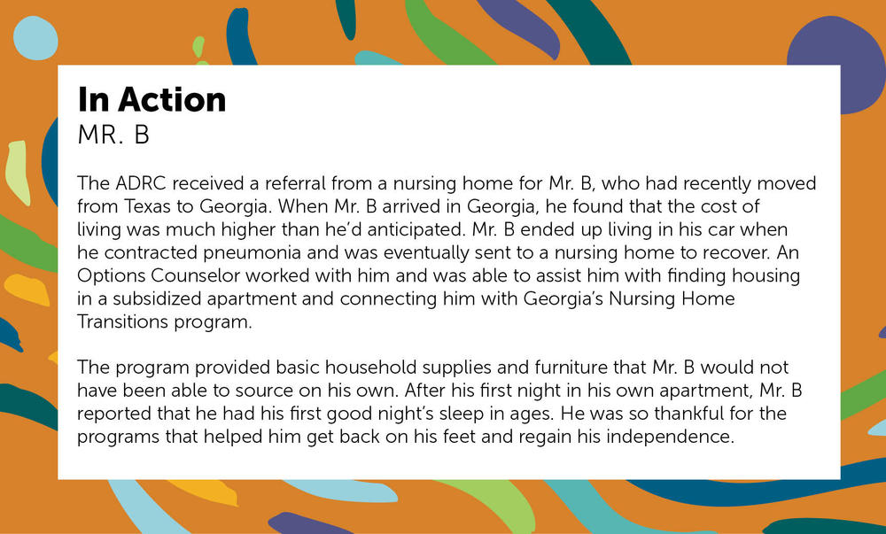 The ADRC received a referral from a nursing home for Mr. B, who had recently moved from Texas to Georgia.