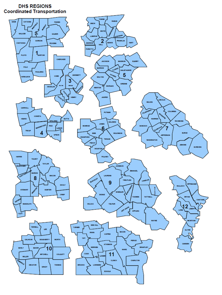 DHS Regions map